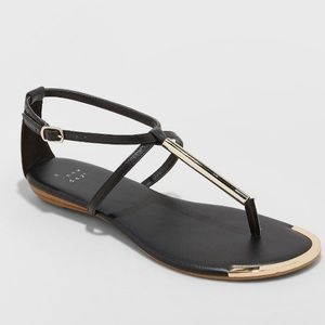 NWT A New Day Archer T strap sandals black gold